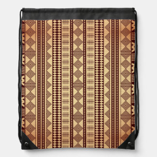Brown ethnic texture drawstring bag