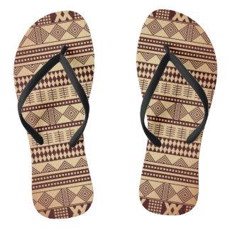Brown ethnic texture flip flops