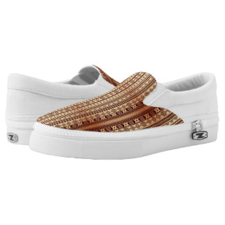 Brown ethnic texture slip on shoes