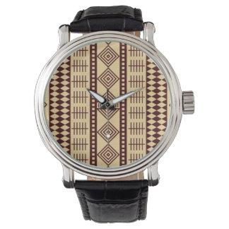 Brown ethnic texture watch