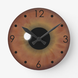 Brown Eye Iris Eyeball Custom Medium Round Clock