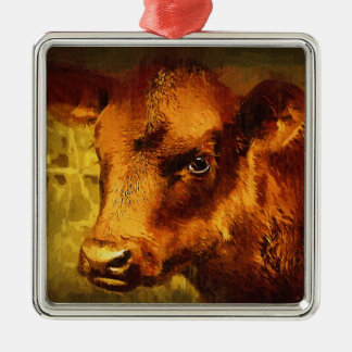 Brown Eyed Girl - Cow Oil Painting Christmas Ornament