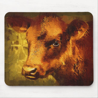 Brown Eyed Girl - Cow Oil Painting Mouse Pad