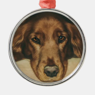 Brown Eyed Golden Irish Dog Christmas Ornament