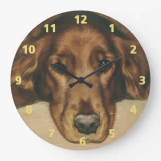 Brown Eyed Golden Irish Dog Large Clock