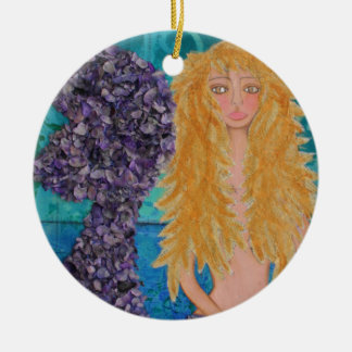 brown eyed mermaid.jpg round ceramic decoration