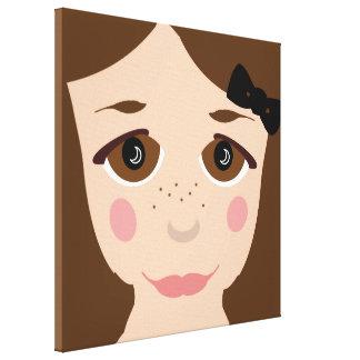 Brown Eyes & Hair Girl Face Cute Cartoon Pop Art Stretched Canvas Print