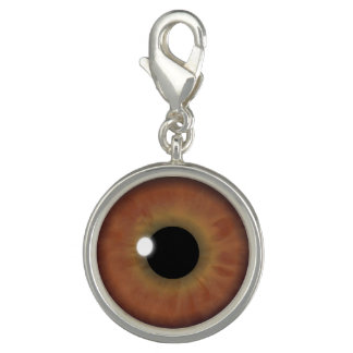 Brown Eyes Iris Eye Fun Cool Round Bracelet Charms