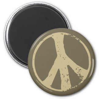 Brown Faded, Grunge Style Peace Sign 6 Cm Round Magnet