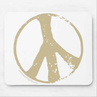 Brown Faded, Grunge Style Peace Sign Mouse Pad