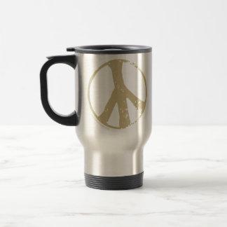 Brown Faded, Grunge Style Peace Sign Mug