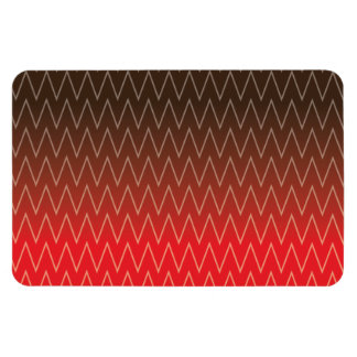 Brown Faded to Red Chevron Gradient Pattern Rectangle Magnet