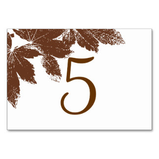 Brown Fall Leaf Stamp Table Numbers Table Cards