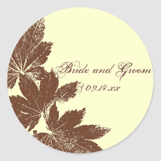 Brown Fall Leaf Stamp Wedding Envelope Seal Round Sticker