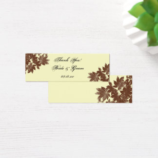 Brown Fall Leaf Stamp Wedding Favor Tag Mini Business Card