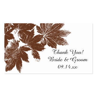 Brown Fall Leaf Stamp Wedding Favor Tag Pack Of Standard Business Cards