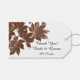 Brown Fall Leaf Stamp Wedding Favor Tags