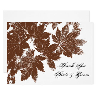 Brown Fall Leaf Stamp Wedding Flat Thank You Notes Card