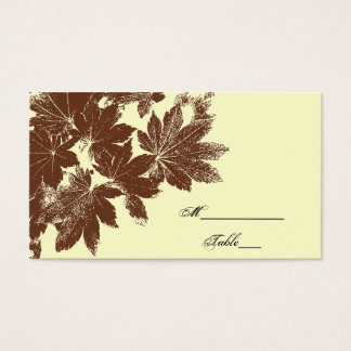 Brown Fall Leaf Stamp Wedding Place Card