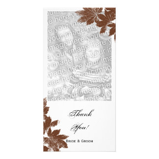 Brown Fall Maple Leaf Stamp Thank You Photo Greeting Card