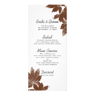 Brown Fall Maple Leaf Stamp Wedding Menu Custom Rack Cards
