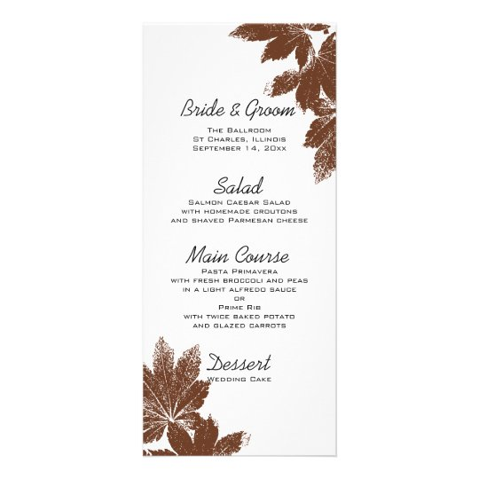 Brown Fall Maple Leaf Stamp Wedding Menu Custom