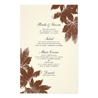 Brown Fall Maple Leaf Stamp Wedding Menu Stationery Paper