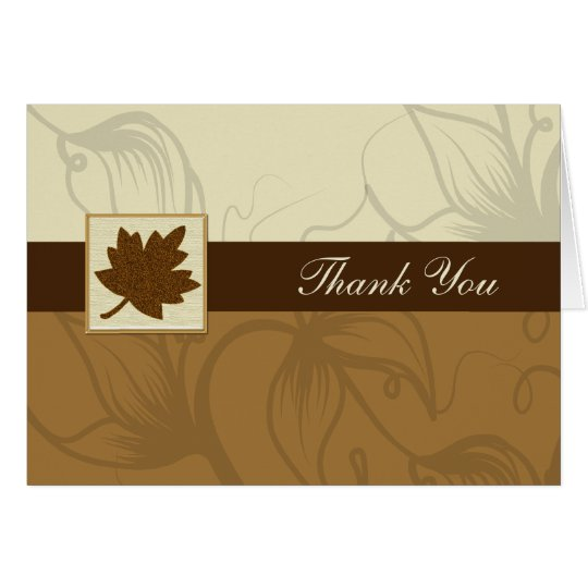 brown fall wedding Thank You Card