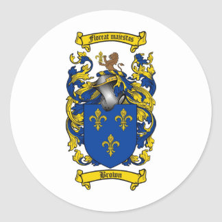 BROWN FAMILY CREST -  BROWN COAT OF ARMS CLASSIC ROUND STICKER
