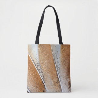 Brown Fanned Turkey Feather Design Tote Bag