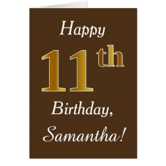 Brown, Faux Gold 11th Birthday + Custom Name Card