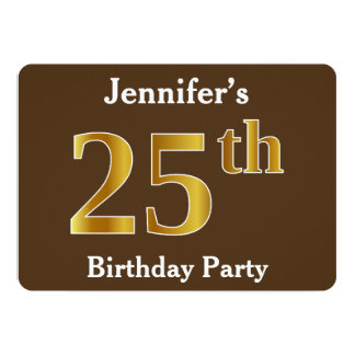 Brown, Faux Gold 25th Birthday Party; Custom Name Card