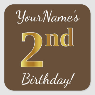 Brown, Faux Gold 2nd Birthday + Custom Name Square Sticker