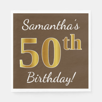 Brown, Faux Gold 50th Birthday + Custom Name Paper Napkins