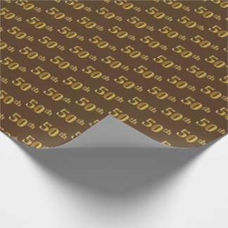 Brown, Faux Gold 50th (Fiftieth) Event Wrapping Paper