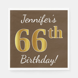 Brown, Faux Gold 66th Birthday + Custom Name Disposable Serviette