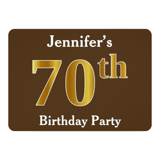 Brown, Faux Gold 70th Birthday Party; Custom Name