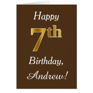 Brown, Faux Gold 7th Birthday + Custom Name Card
