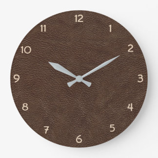 Brown Faux Leather Large Clock