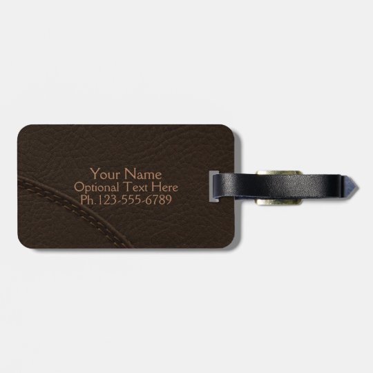 Brown Faux Leather Upholstery Luggage Tag