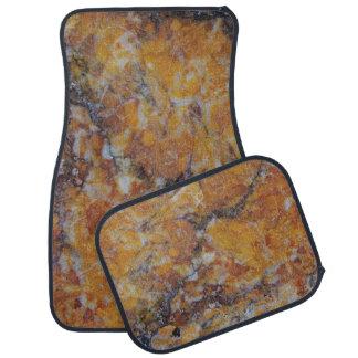 Brown Faux Marble Stone Print Car Mat