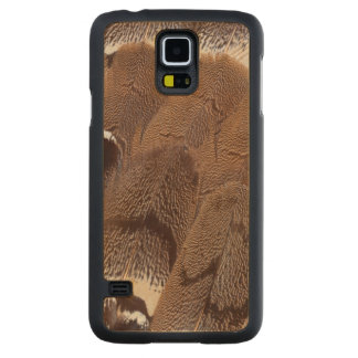Brown Feather Design Carved Maple Galaxy S5 Case