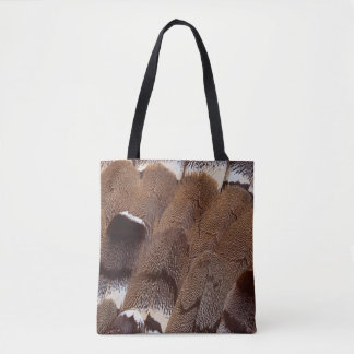 Brown Feather Design Tote Bag