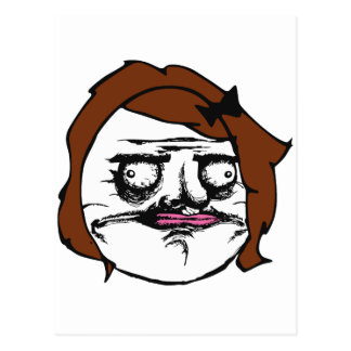 Brown Female Me Gusta Comic Rage Face Meme Postcard