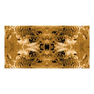 Brown Fern Leaves, Digital Art Pattern. Picture Card
