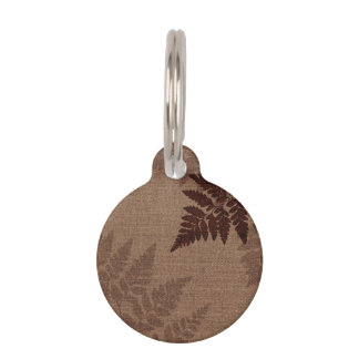Brown Ferns against Rustic Country Burlap Pet ID Tags