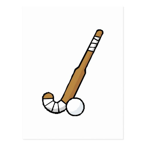 Brown Field Hockey Stick Post Cards
