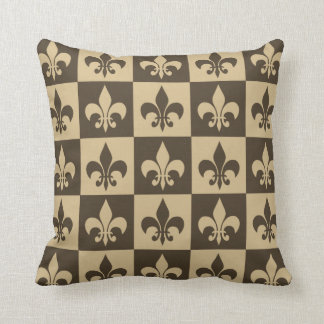 Brown Fleur de lis Cushion