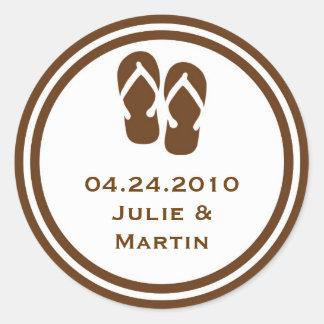 Brown flip flop thong wedding favor tag seal label round sticker
