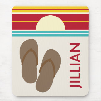 Brown Flip Flops & 70s Inspired Beach Sunset Mouse Pad